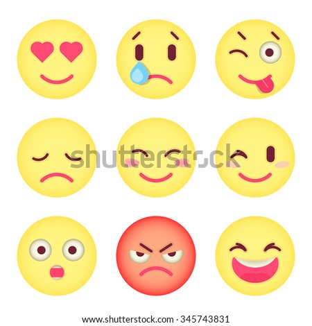 set of flat emoticons set of