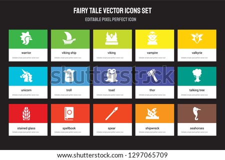 set of 15 flat fairy tale icons