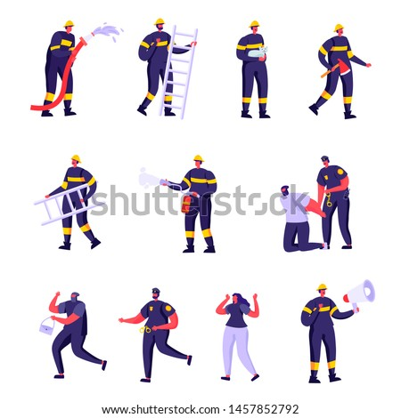 Set of Flat Firefighters, Policemen and Victims Characters. Cartoon Police Officers and Firemen at Work. Criminal Steal Bag, Male in Uniform Spraying Water. Vector Illustration.