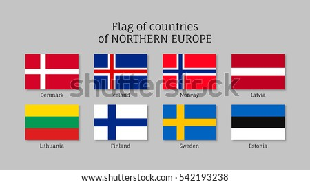 set of flat flags of northern