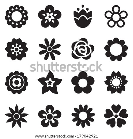 Set of flat flower icons in silhouette isolated on white. Simple retro designs in black and white. Seamless background pattern for gift wrapping paper, textiles, wallpaper. #179042921