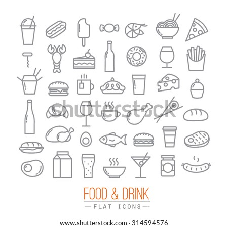 Set of flat food icons drawing with grey lines on white background