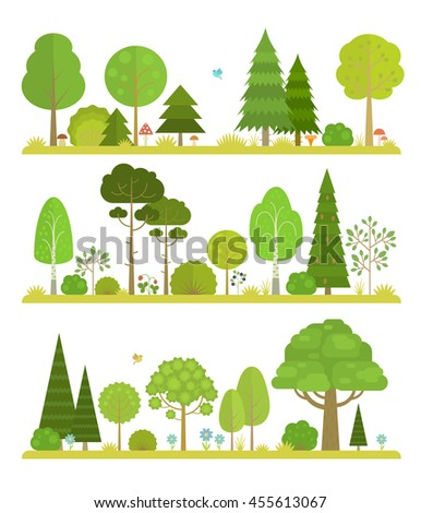 set of flat forest and park