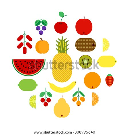 set of flat fruits and berries