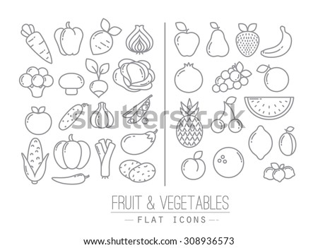 Set of flat fruits and vegetables icons drawing with black lines on white background