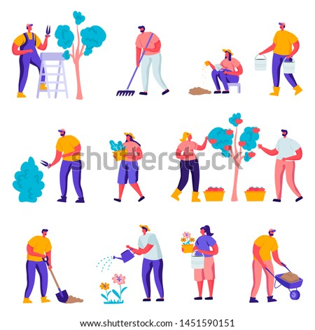 Set of Flat Gardeners Looking After Plants Characters. Cartoon People Gardening People Watering, Planting, Raking Trees in Garden or Greenhouse. Vector Illustration.