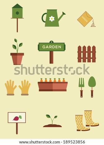 set of flat gardening equipment