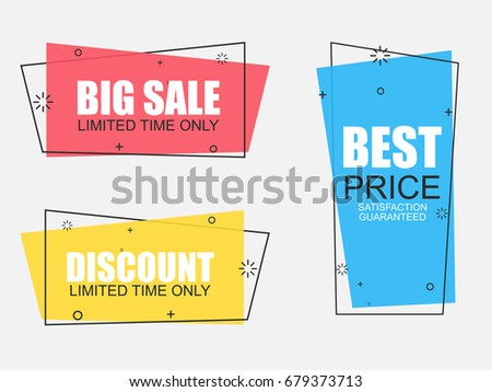 Set of flat geometric vector banners in vintage style. Discount offer price label, symbol for advertising campaign in retail, sale promo marketing, ad offer on shopping.