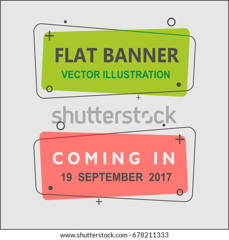 Set of flat geometric vector banners. Vintage colors and shapes. Green and Red banner design