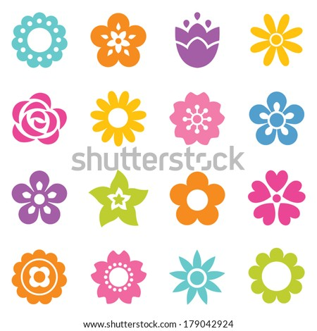 Set of flat icon flower icons in silhouette isolated on white. Cute retro design in bright colors for stickers, labels, tags, gift wrapping paper. #179042924