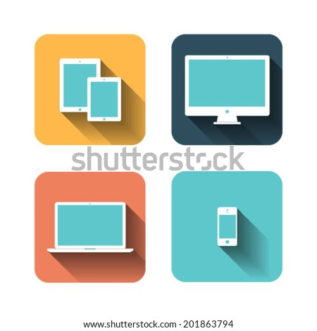 set of flat icons about devices