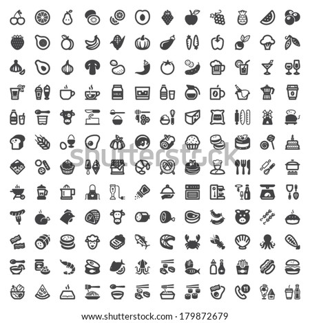 set of flat icons about food