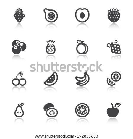Set of flat icons about fruit with reflection