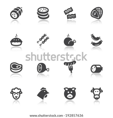 Set of flat icons about meat with reflection