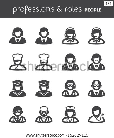 Set of flat icons about people. Professions and roles
