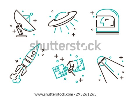 set of flat icons for astronomy