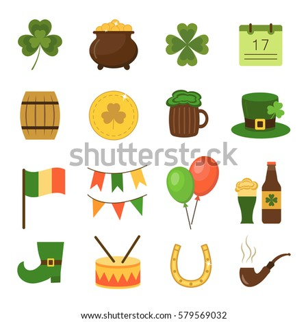 Set of flat icons for St. Patrick's Day holiday.