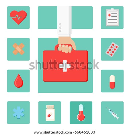 Set of flat icons Health care concept. Hand Doctor with medical bag and ten medical icons. Flat vector illustration. #668461033