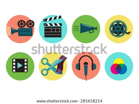 Set of flat icons on video production and post production,  movie shooting, visual effects. Vector illustration
