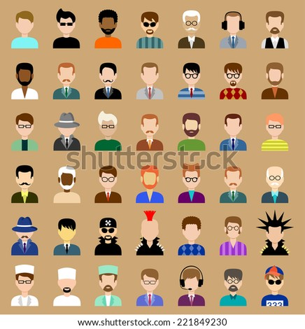 Set of flat icons set with men. vector