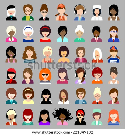 Set of flat icons set with women. vector