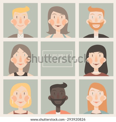 Set of flat icons with middle aged people faces in retro colors