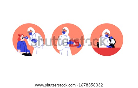 Set of flat illustrations of medical doctors wearing covid-19 protection suit running tests, doing research, walking and treating patient at the medical office