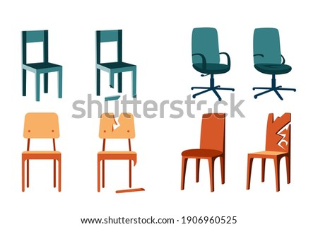 Set of flat illustrations of wooden chairs on a white background. Office chairs, school chairs. Broken chair repair. Shabby, battered chairs. New design, cartoon style illustration.
