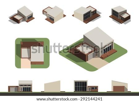 set of flat isolated house