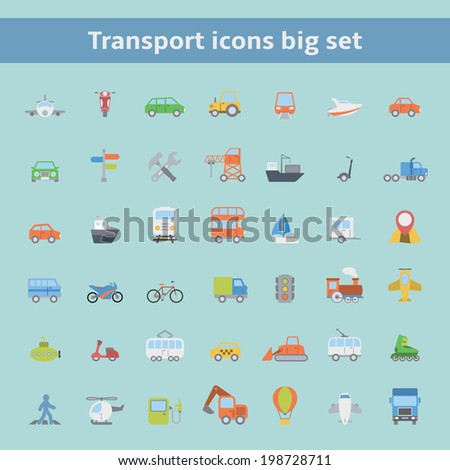 Set of flat land sea and air transportation vehicles icons for web design or infographics elements isolated vector illustration