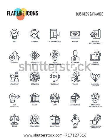 set of flat line business and