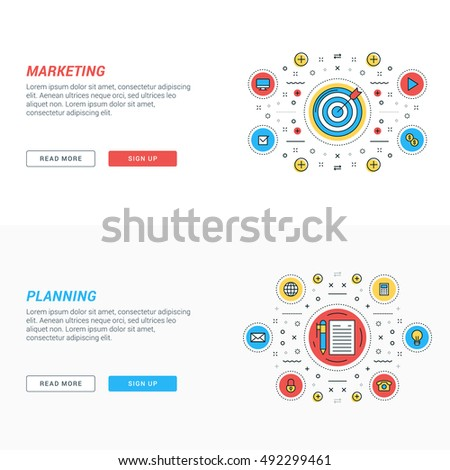 Set of flat line business website banner templates. Vector illustration. Modern thin line icons in circle. Marketing. Planning