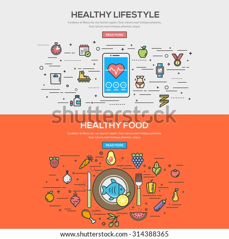 Set of Flat Line Color Banner Design Concept for Healthy Lifestyle and Healthy Food. Vector