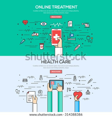 Set of Flat Line Color Banner Design Concept for Online Treatment and Health care. Vector