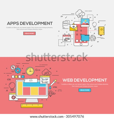 Set of Flat Line Color Banners Design Concept for Apps Development and Web Development. Vector