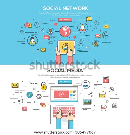Set of Flat Line Color Banners Design Concept for Social Network and Social Media. Vector