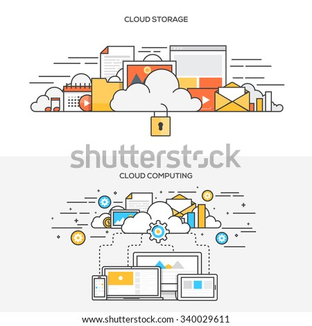 Set of Flat Line Color Banners Design Concepts for cloud storage and Cloud computing. Vector