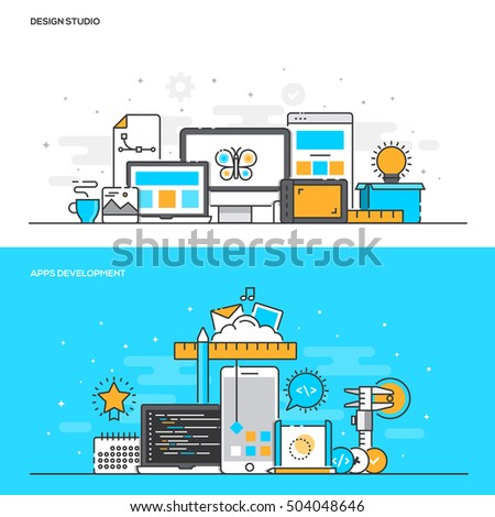 Set of Flat Line Color Banners Design Concepts for Design Studio and Apps Development. Concepts web banner and printed materials. Vector Illustration