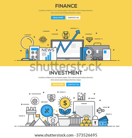 Set of Flat Line Color Banners Design Concepts for Finance and Investment. Vector