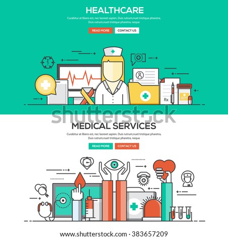 Set of Flat Line Color Banners Design Concepts for Healthcare and Medical Services. Vector