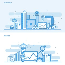 Set of Flat Line Color Banners Design Concepts for Investment and Analysis. Concepts web banner and printed materials. Vector Illustration