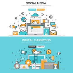 Set of Flat Line Color Banners Design Concepts for Social Media and Digital Marketing. Vector