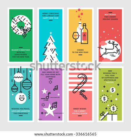 Set of flat line design Christmas and New Year's greeting cards.