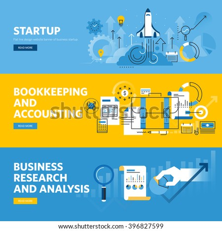 Set of flat line design web banners for company startup, finance, bookkeeping and accounting, business research and analysis. Vector illustration concepts for web design, marketing, and graphic design