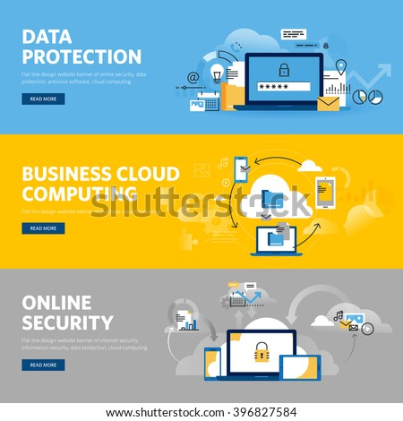 Set of flat line design web banners for data protection, internet security, antivirus software and services, business cloud computing. Vector illustration concepts for web and graphic design.