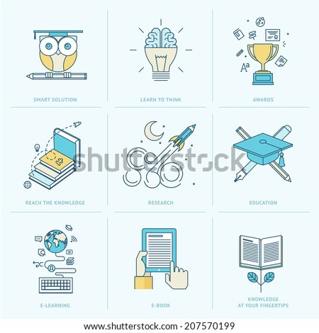 Set of flat line icons for education. Icons for online learning, online book, education solutions, research, knowledge.