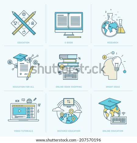 Set of flat line icons for online education. Icons for online learning, online book, video tutorial, online education, research, online book shopping, distance education, education for all.