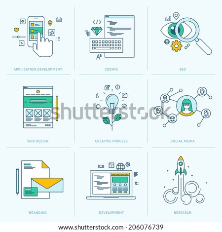 Set of flat line icons for web development. Icons for application development, web page coding and programming, seo, web design, creative process, social media, branding, marketing