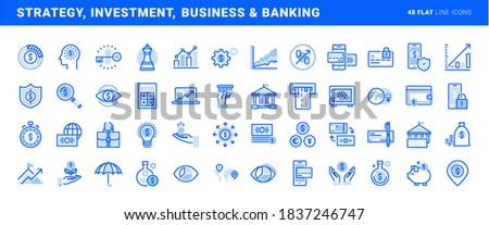 Set of flat line icons of strategy, investment, business and banking. Vector concepts for website and app design and development.