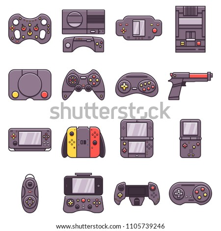 Set of flat line icons: retro and modern home video gaming console, handheld portable videoconsole, gamepad, joystick, light gun, smartphone controller. Devices for gamers, game lovers and geeks.